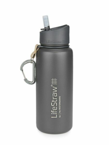 Life Straw Go stainless steel grey front