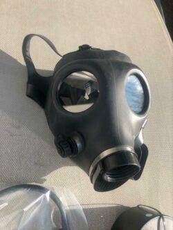 Israelische Gasmaske mit Trinkschlauch und Filter, Neuwertig in Folie (Schutzmaske, Maske)