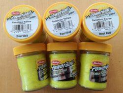 Berkley PowerBait, Glitter, Floating, Yellow, 50g, 6 Stück